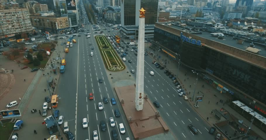 Aerial survey. High traffic on the streets of the big city of Kiev, Ukraine. 10. SEPTEMBER 2017. during the hour of peak traffic. Aerial view over crossed roads and grade-crossing elimination structur | Shutterstock HD Video #35034304