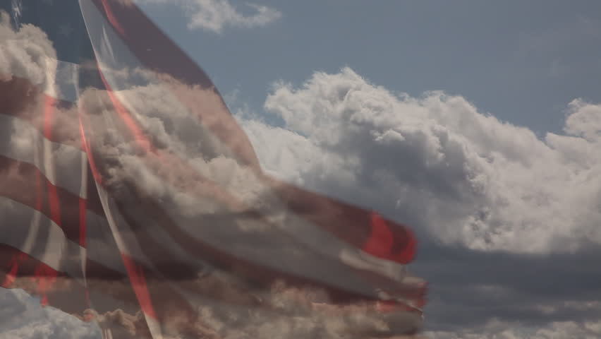 Slow Motion American Flag with Time-lapse Clouds,