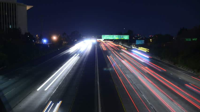 Freeway Traffic 13 Timelapse Night Los Angeles VJ Loop | Shutterstock HD Video #3513794