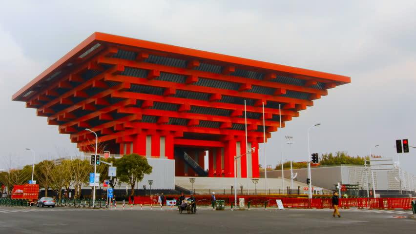 SHANGHAI - DECEMBER 18: Time lapse of China pavilion at Expo 2010 Shanghai China