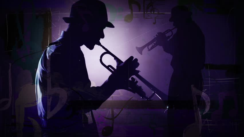 Dueling Horns - This is a composite video of a close up of a man playing a trumpet with animated music notes and a guitar player silhouette in the background