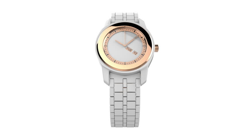 White ceramic wristwatch with pink gold elements