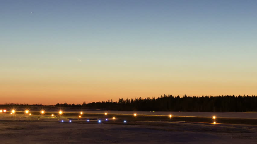 Comet Pan-STARRS (C/2011 L4), time-lapse, just after sunset at Skavsta airport in Sweden, Mar 2013.