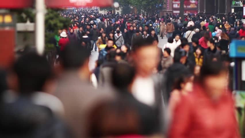 Slow Motion of Busy Crowds Traffic in Shanghai