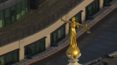 Aerial view of Lady Justice, the statue which resides on top of the famous London criminal court which is more commonly known as The Old Bailey