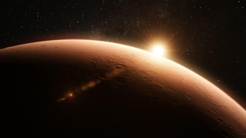 Sunrise Over The Planet Mars Stock Footage Video - Sunrise looks like mars