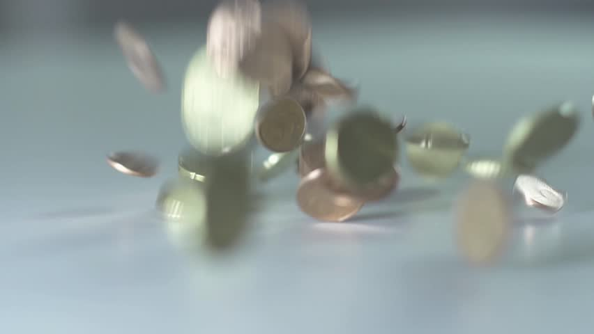 money coins cash falling down busyness economy finance slow motion 1080 HD