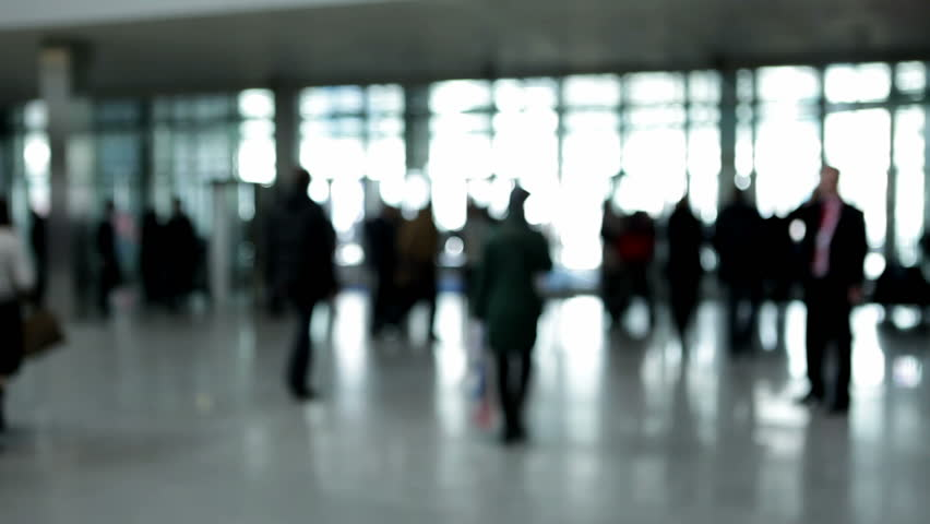 People in enter hall (defocus)