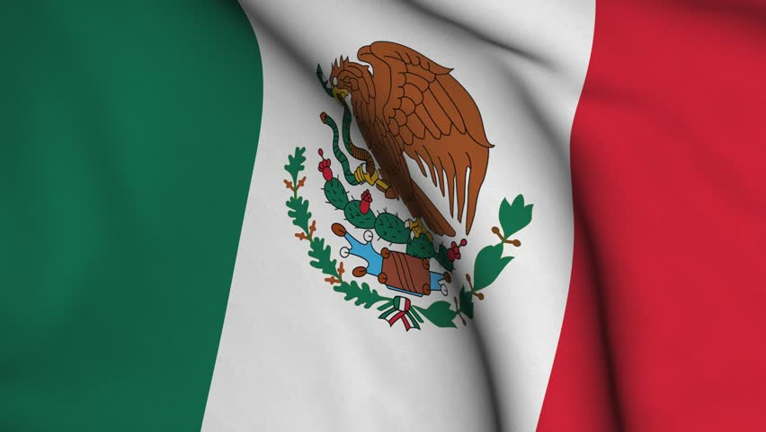 Seamless looping high definition video closeup of the Mexican flag with accurate design and colors and a detailed fabric texture.