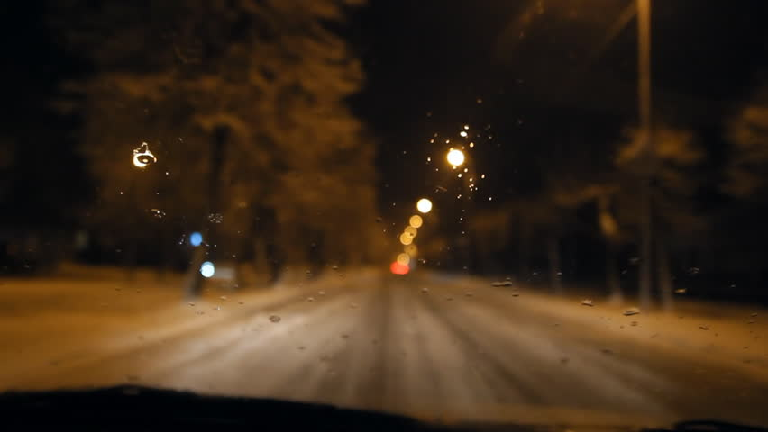 Night road, slippery road, snowy , winter road