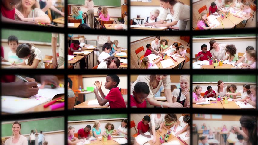 Montage of pupils with teacher studying in classroom