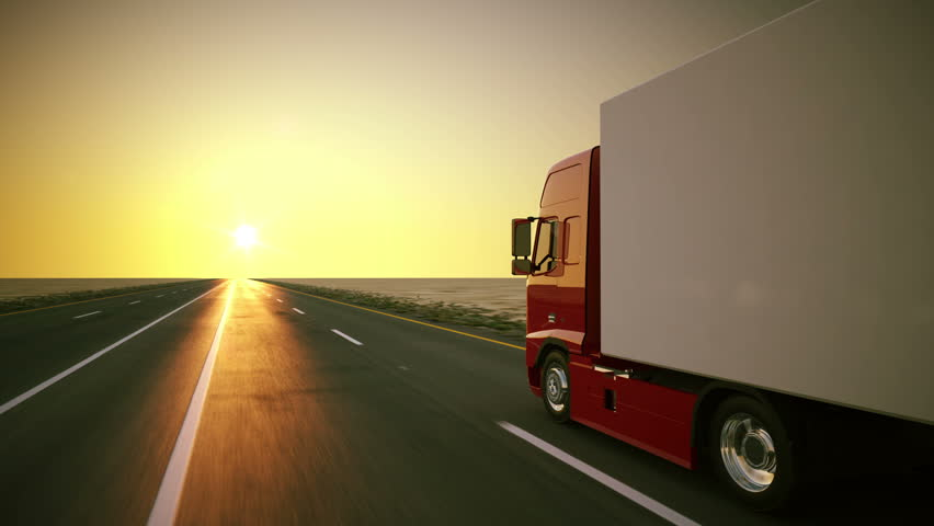Stock Video Clip Of Truck On The Road With Sunset In