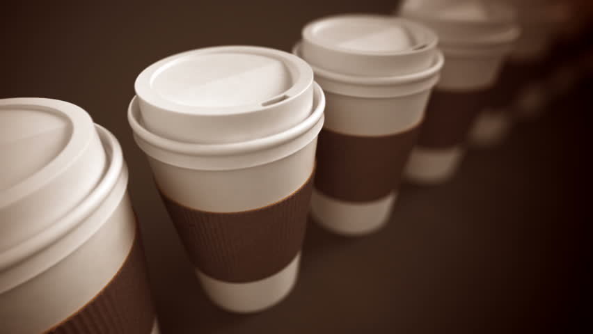 Loopable animation of take-away coffee cups with brown holding stripe.
