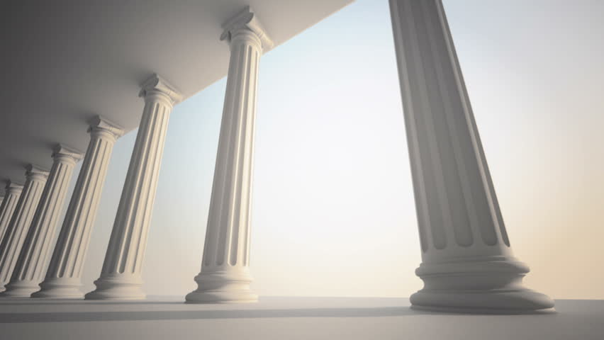 Classical white Greek style columns. CG loopable animation.