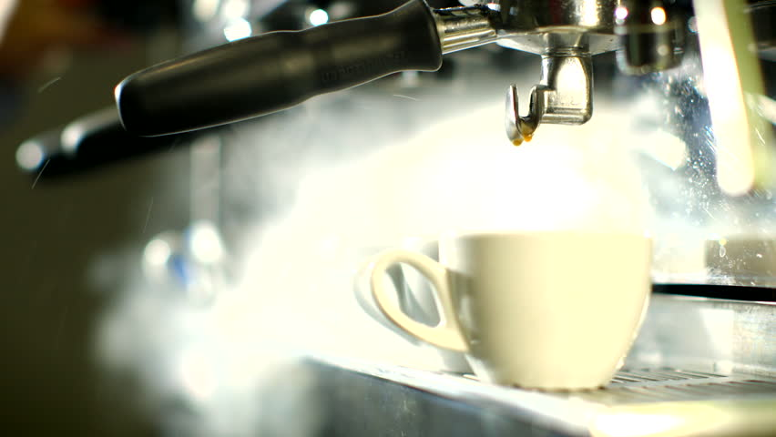 Blast of steam on coffee machine    | Shutterstock HD Video #3640334