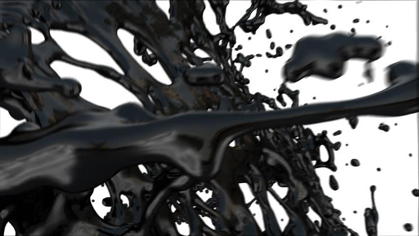 black paint splash fills screen, isolated on white (FULL HD)