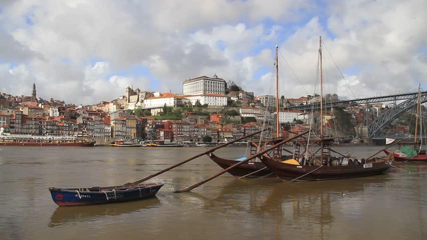 Porto, Douro river and Rabelo boats, Portugal