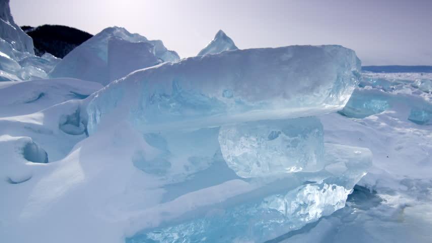 Time lapse of Ice hummocks. Lake Baikal. Siberia.