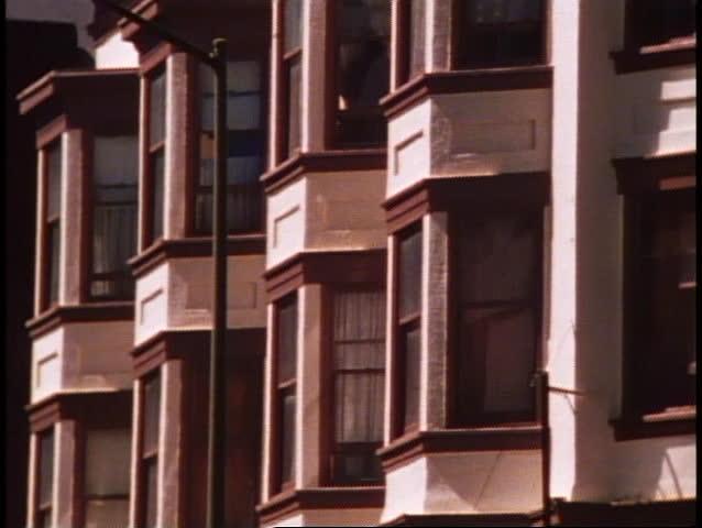 San Francisco, 1970's, San Francisco building montage, bay windows, modern skyscraper, Transamerica Pyramid