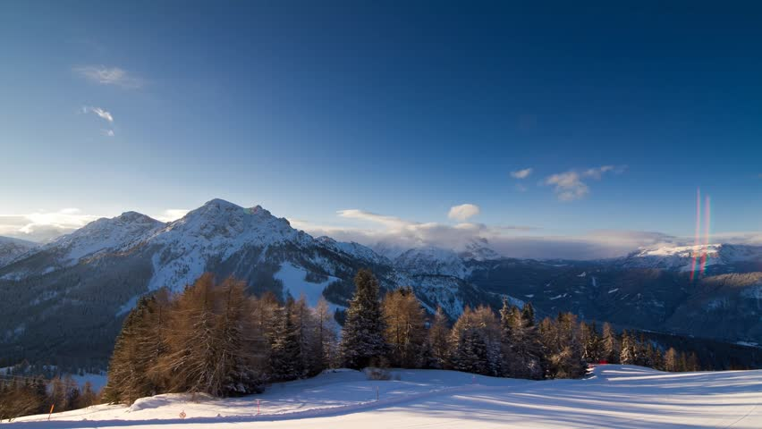 Beautiful time lapse of the mountains at sunrise in the early morning in the Italian Dolomites