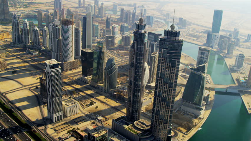 Aerial view Burj Khalifa, Dubai Creek Sheikh Zayed Road, and downtown Dubai, UAE
