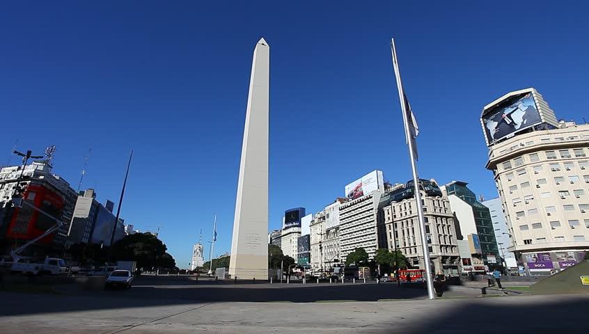 BUENOS AREAS ARGENTINA APRIL 13:Obelisco Avenida 9 de Julio is a wide avenue in