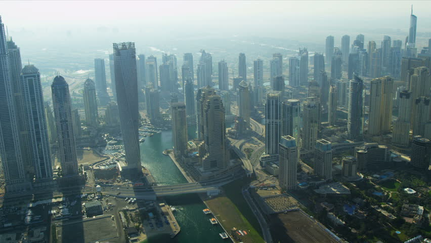 Aerial view Dubai marina entrance, Marina Beach, city Skyscrapers, UAE, RED EPIC | Shutterstock HD Video #3731144