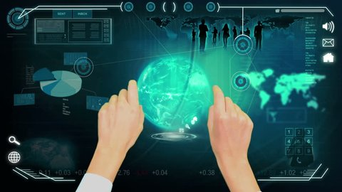 3D digital images hands using digital touch screen data base for business interface with professional contacts