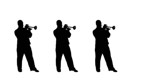 Three silhouettes swinging out as they play trumpet in a studio. Black and white silhouettes, full-length shot.