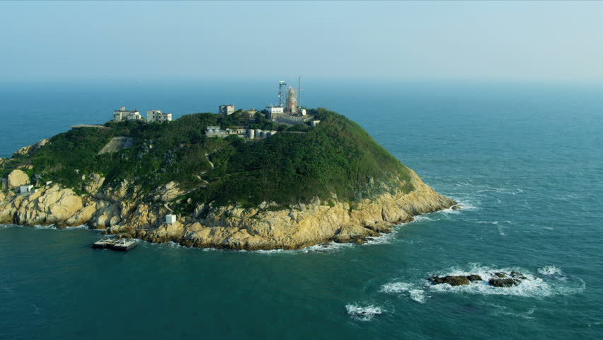 Aerial view of old wartime post and lighthouse on coastal Island, Hong Kong, South China Sea, Asia, RED EPIC   Shutterstock HD Video #3737444