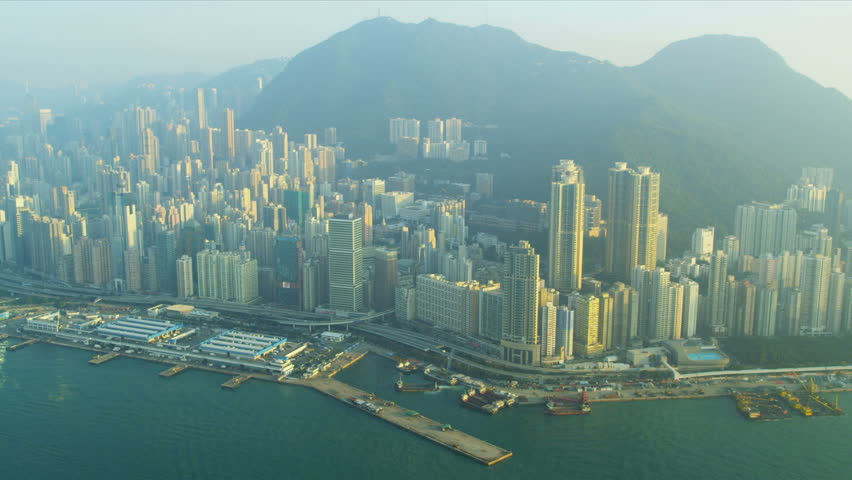 Aerial view Victoria Harbour Hong Kong city skyscrapers, South China Sea, China, Asia, RED EPIC | Shutterstock HD Video #3741134