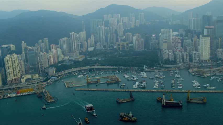 Aerial view dredgers Causeway Bay Victoria Harbour, Hong Kong Island, China, Asia, RED EPIC | Shutterstock HD Video #3741164