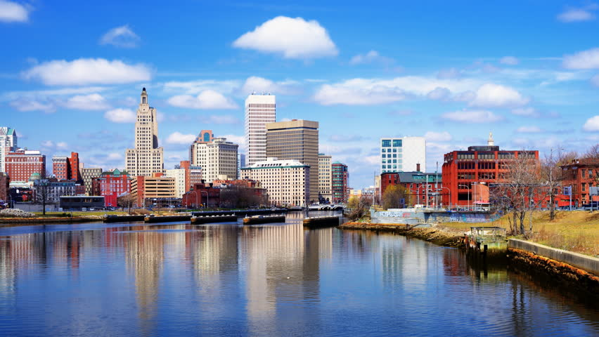 Providence, Rhode Island, USA downtown skyline on the river.