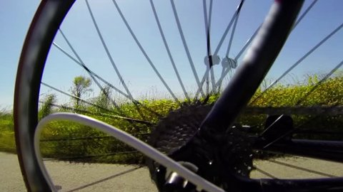 Detail view on a gear system of a racing bike riding on a bicycle path in the country.