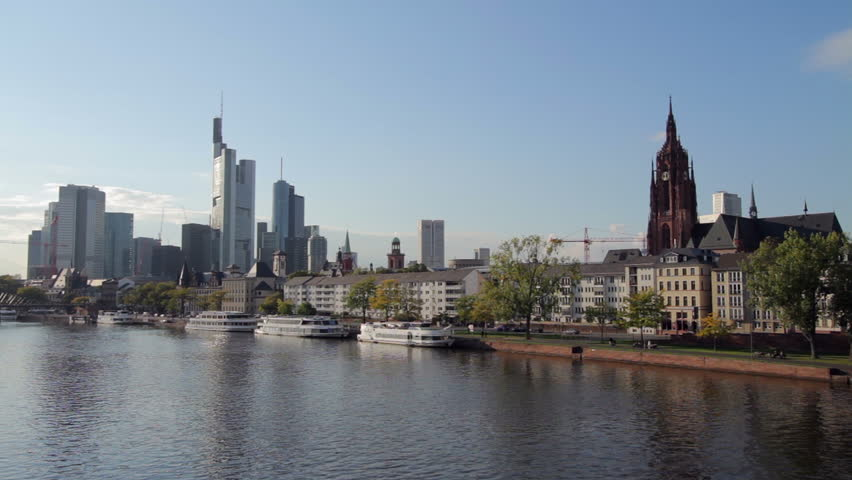 Frankfurt Cityscape Across The River Main In The Afternoon - Frankfurt river