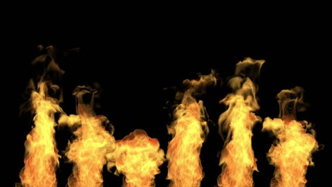 fire isolated on black background, ignition, separated tongues of flame, white smoke, alpha channel, hd, 1920x1080