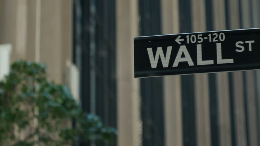 Wall Street, New York, USA - tracking reveal of road sign | Shutterstock HD Video #3778241