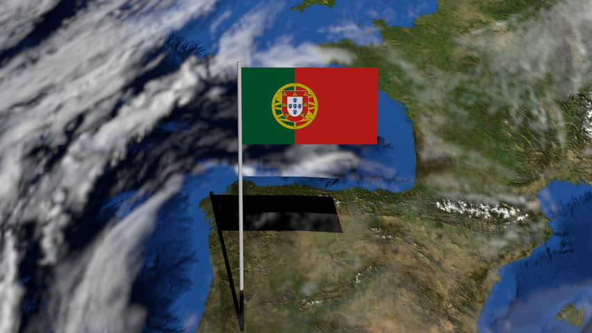 Moving Through Euro Spheres To Portugal Map Flag Animation Stock - Portugal globe map