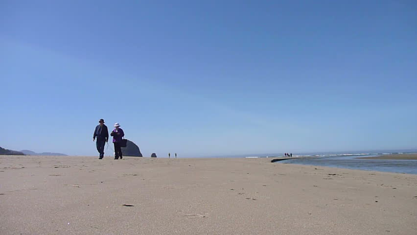 Older couple walk with dog at Cannon Beach, Oregon on sunny day.