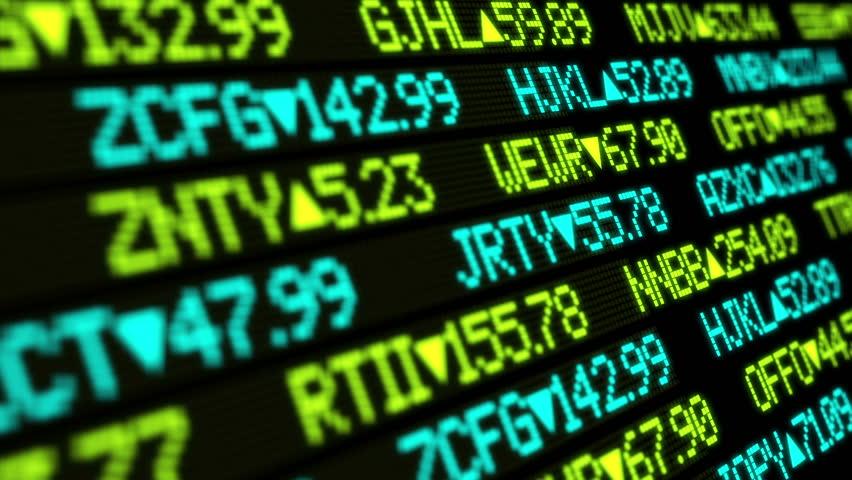 A fictional stock market ticker.