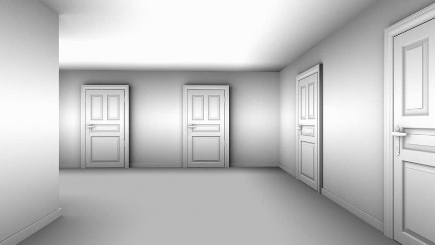 A maze of corridors and doors gray material. 3D animation. Green screen. & A Maze Of Corridors And Doors Gray Material. 3D Animation. Stock ... Pezcame.Com