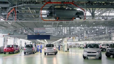 TOGLIATTI - SEP 30: Workshop with new and unfinished Lada Kalina cars on factory VAZ on September 30, 2011 in Togliatti, Russia. AvtoVAZ factory was founded in 1966.
