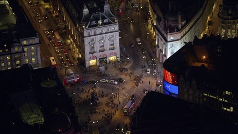 LONDON - MARCH 28: Aerial view of Piccadilly Circus in the West End of London at night-time March 28, 2013 in London, England.