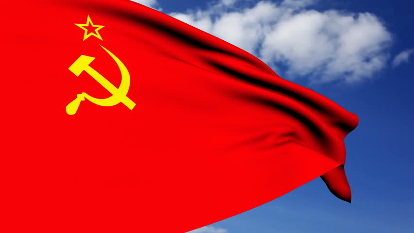 Soviet Union flag waving in the wind.
