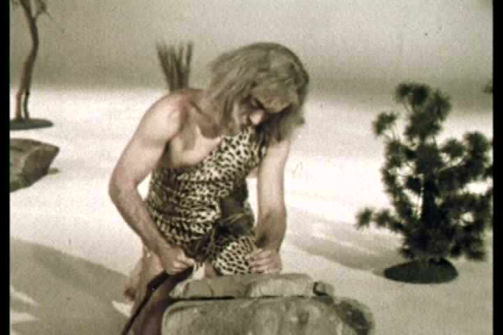 1960s - A strange reenactment of cavemen inventing communication ends with sore feet'
