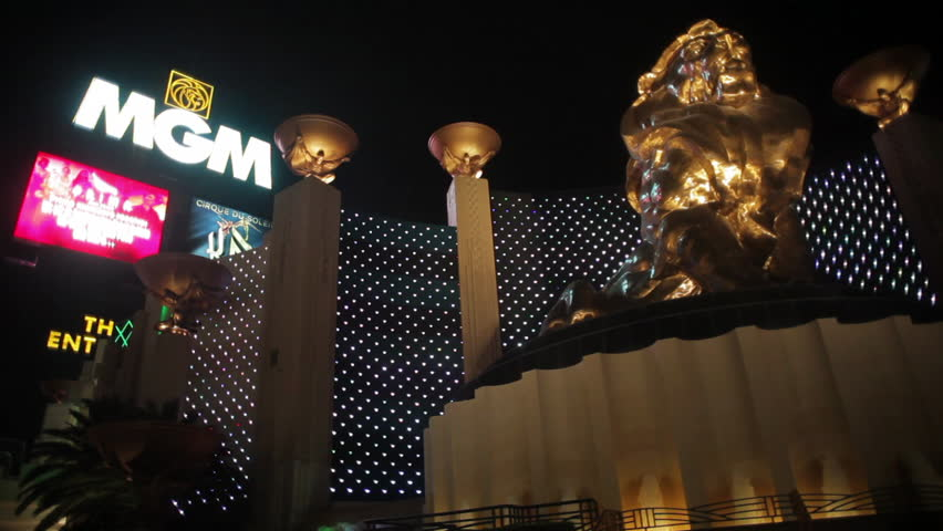 LAS VEGAS - CIRCA NOV 2010: Low angle shot of MGM Grand and lion statue.