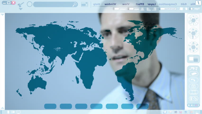 Man working with a world map on an interactive whiteboard stock man working with an animated illustration about networking on an interactive whiteboard hd stock gumiabroncs Gallery