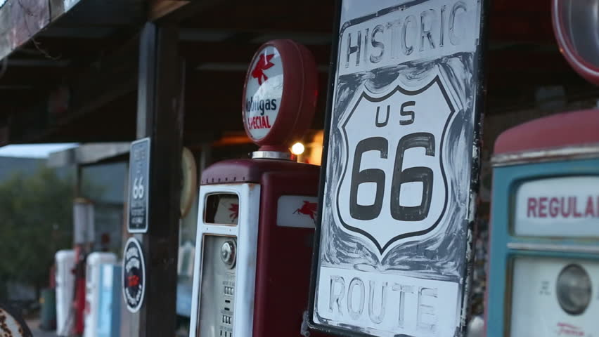 HACKBERRY, ARIZONA - JAN 15 2013: Shaking signs. 15.01.2013. Hackberry. USA. Route 66.