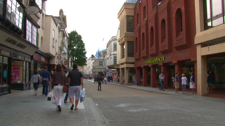 EXETER, UK - SEPTEMBER 2012 -The busy city centre of Exeter in the English county of Devon.