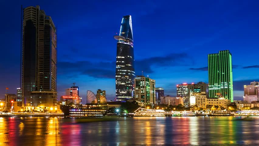 HO CHI MINH CITY CITY NIGHT SKYLINE - Timelapse